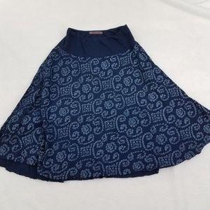 Velvet Skirt Petite P 0 2 Blue A-line Flare Stretc